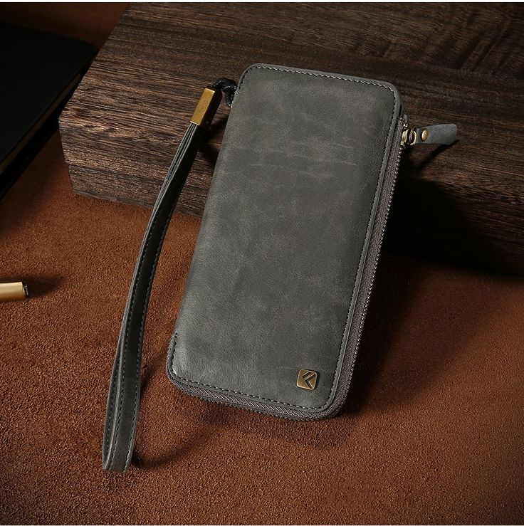 Floveme Vintage PU Leather Zipper Wallet Card Slots Case With Hand Strap For iPhone 6 6s 6/6s Plus