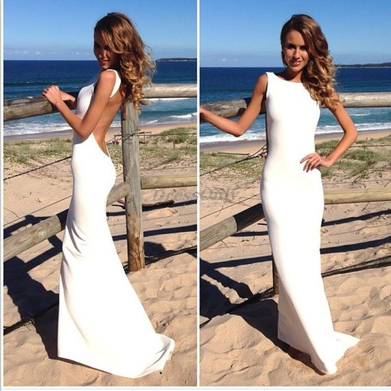 Backless Prom Dresses Coral Jewel Sheath Sexy Long Party Dress Simple Beach Wedding Gown Elastic Satin Maxi Dress Formal Dresses