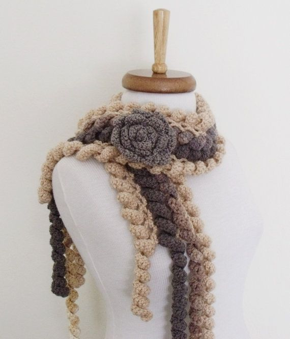 Ringlet Scarf With Flower Brooch Grey by knittingshop on Etsy