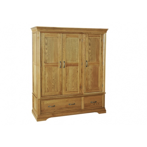 Solid Oak - FRW3 Lyon Oak Triple Wardrobe  www.easyfurn.co.uk