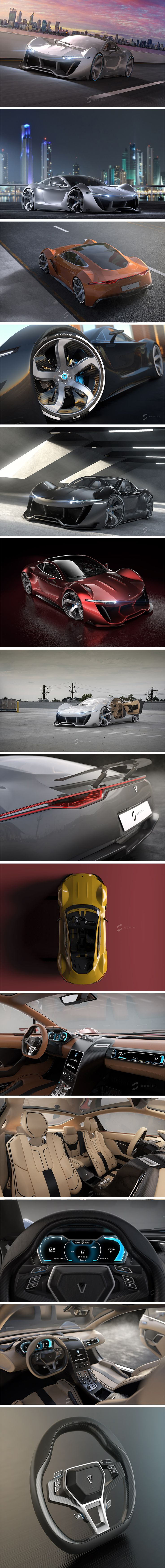 The Lumen electric supercar is polarizing. Under the hood… well, under the hood is space for luggage! It's powertrain consists of a central battery located in the base that powers the electric motors located at the axles. As for the exterior, the most notable features are exaggerated wheels fenders, a dramatic retractable spoiler and surprising half-suicide doors. While they seem like superfluous details for dramatic effect, they each serve a purpose.