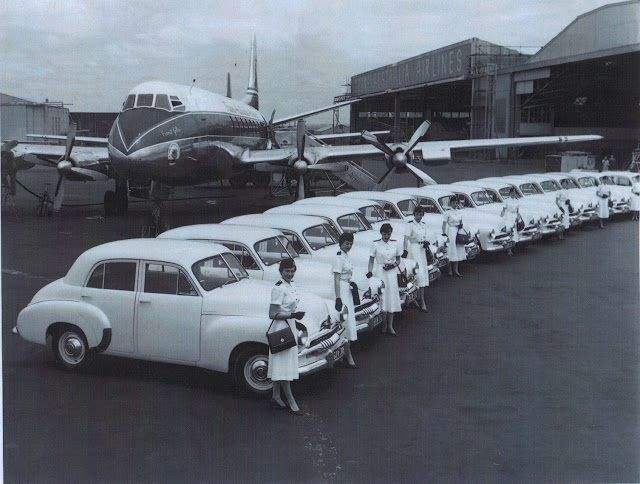 TAA Viscount and Flight Attendants with  Holden cars at Mascot NSW in the 1950's