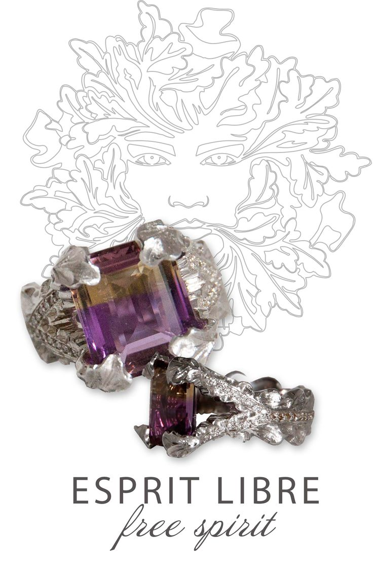 "Esprit Libre - ""Free Spirit"". Two tone Amatrine (purple and cognac) with white and cognac diamonds."