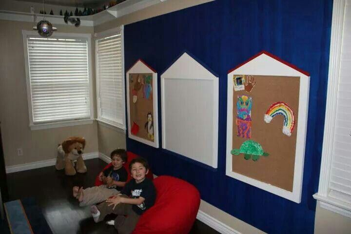I copied Pottery Barn dry erase board and bulletin boards I built from scratch.