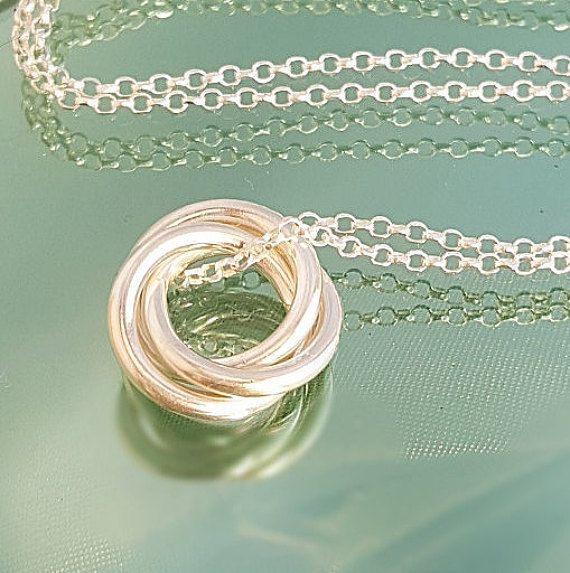 3 anillo colgante anillos entrelazados tres anillo collar