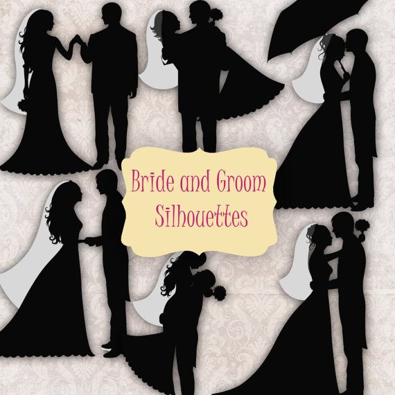 6 Bride and Groom Silhouettes - Digital Clipart - card design, invitations, stickers, paper crafts, web design. COMMERCIAL USE on Etsy, $2.70
