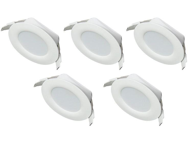 Ultra Flach LED Einbaustrahler IP44 für den Wohnbereich |auch für das Bad geeignet| Warmweiß 4W 230V Rahmen weiss Rund Einbauspots Badleuchten, 5 Stück Einbauleuchten: Amazon.de: Beleuchtung