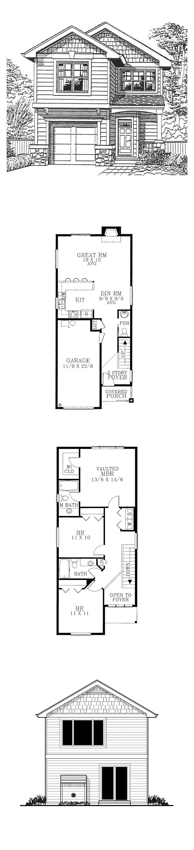 Narrow lot home plan 91470 total living area 1400 sq for Narrow bathroom floor plans