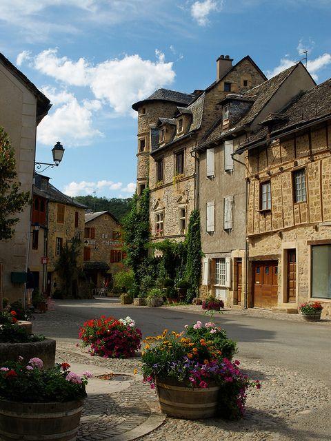Medieval village of Sainte-Eulalie d'Olt, situated on the left bank of River…