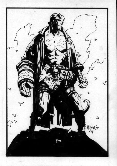 """Mike Mignola - Este Hellboy """"temprano"""" permite observar bien la estilización que cobraría el estilo del artista posteriormente (puede compararse con http://www.pinterest.com/pin/367043438353844473/)"""