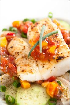 Atlantic Cod with Mango Salsa A fresh, zesty way to prepare this delicious, mild white fish. This #recipe is simple, #refreshing and #delicious! Our #chef inspired this Toppits Recipe.