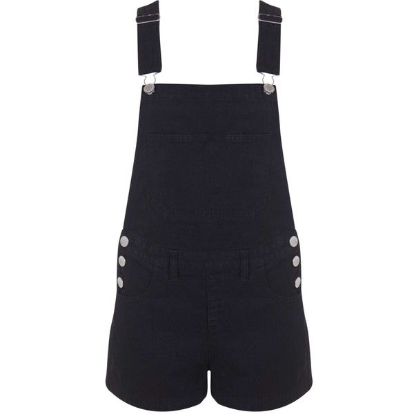 Miss Selfridge Black Denim Dungaree ($61) ❤ liked on Polyvore featuring jumpsuits, rompers, shorts, overalls, playsuits, black, short overall, denim jumpsuit, black overalls y black romper jumpsuit