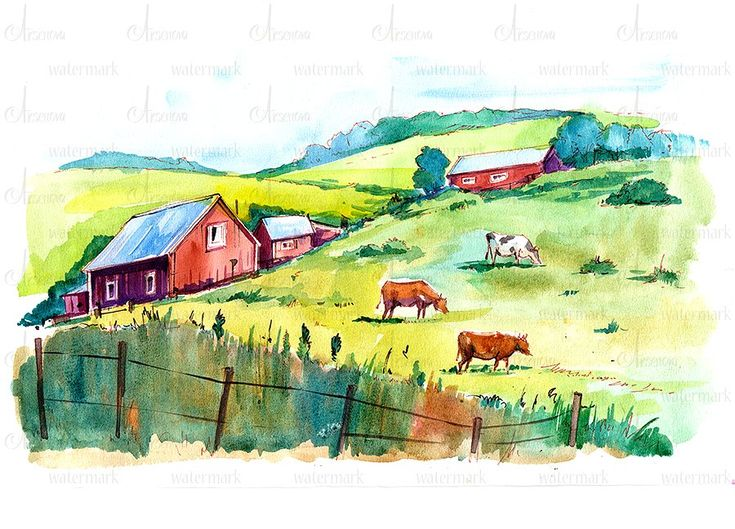 Watercolor rural backgrounds by Olga Aksenova on @creativemarket