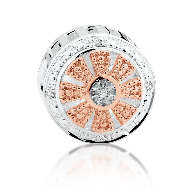 Diamond set, rose gold  sterling silver charm (11989967) #rosegold #emmaandroe