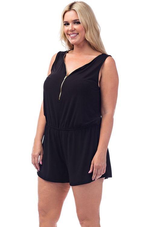 New Comfortable Trendy Front Zipper Sleeveless Plus Size Romper For Women  #Unbranded #Romper