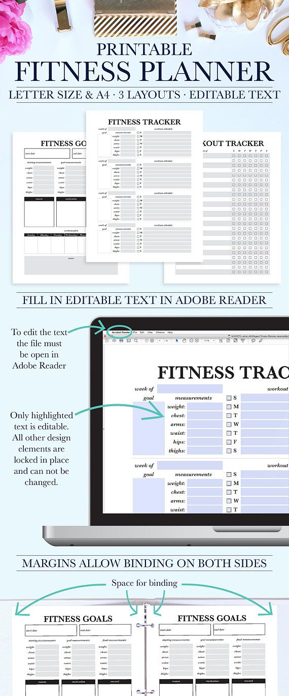 Fitness Journal, Fitness Printable, Fitness Planner PDF, Fitness Log, Fitness Tracker, Workout Planner #fitnessplanner #workoutplanner #fitness #workoutplan #workout #newyearsresolution ad