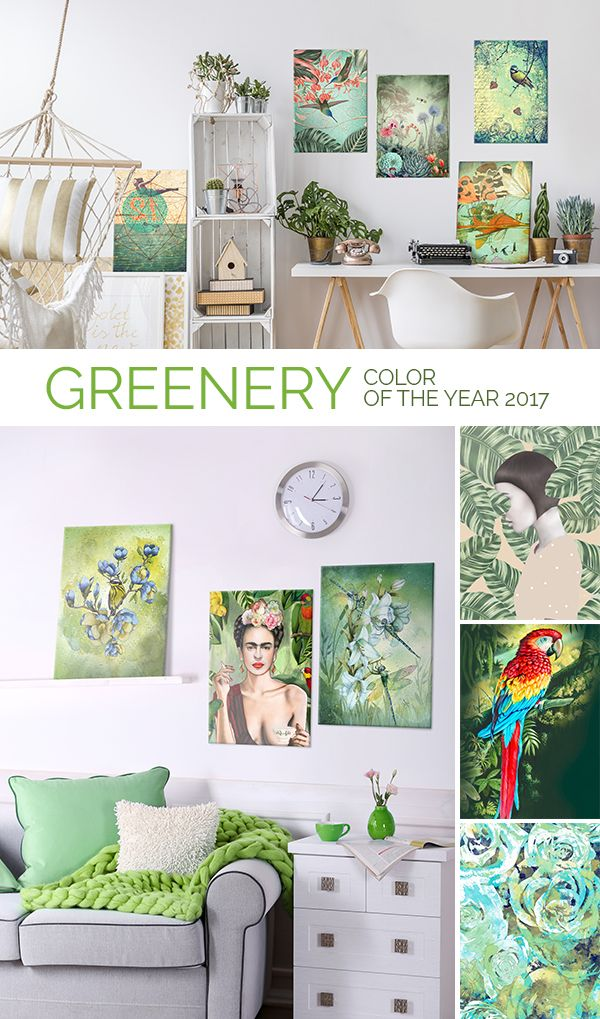 Official color of the year 2017: Pantone Greenery in action! GREENERY wall decoration ideas. #greenery