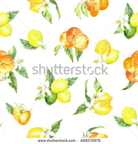 watercolor pattern lemon orange fruit