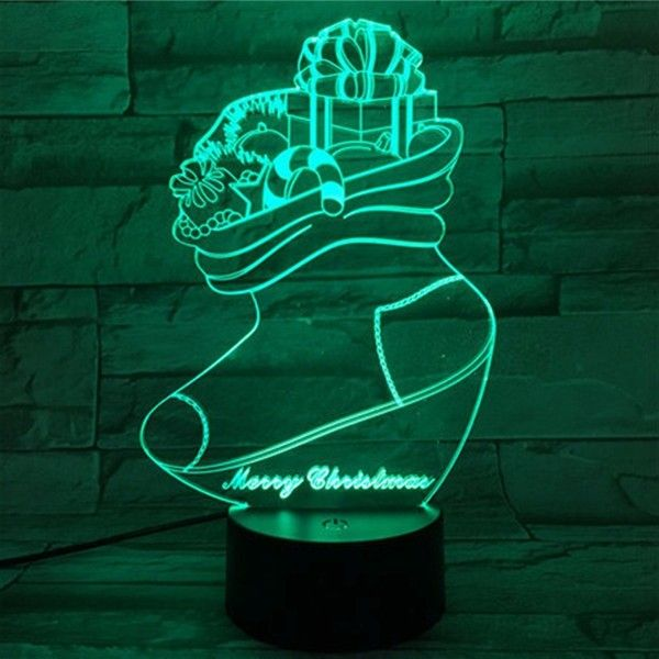 Christmas Stocking 3D Stereo LED Lights Colorful Touch Night Light Gift USB Table Visual Lights