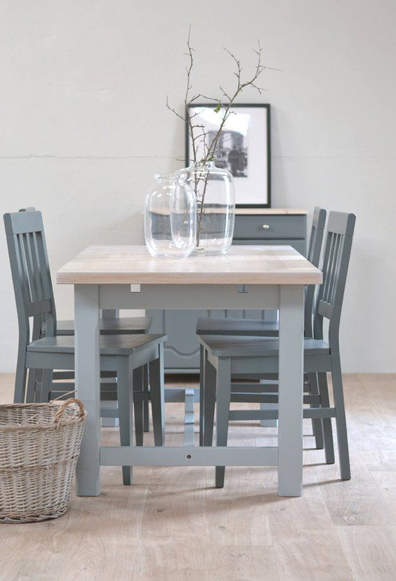 Oak Dining Table And Chairs Four Seater Table Grey Kitchen Grey