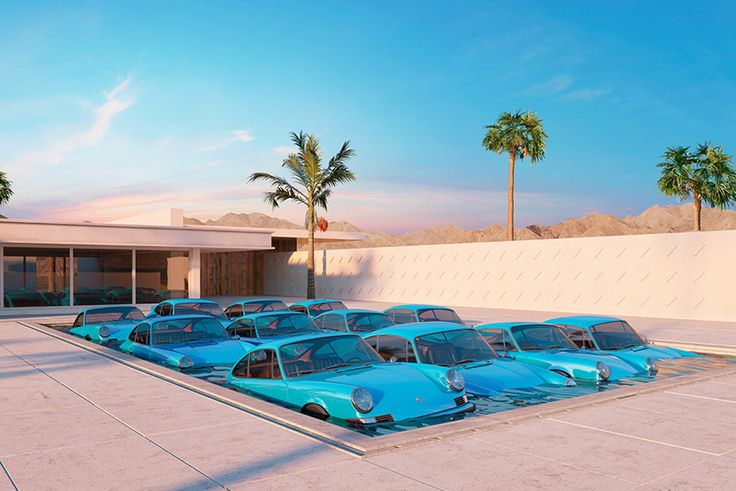 Twelve Porsche 911 Carrera RS in a pool by Chris Labrooy. Chris first began to use 3D as a simple tool to visualise ideas for furniture and products that he could not afford to produce. As 3D technology and hardware evolved, Chris saw an opportunity to explore CGI as a creative medium in itself with which he could subvert and twist familiar everyday things into new typographic and sculptural forms. http://www.chrislabrooy.com