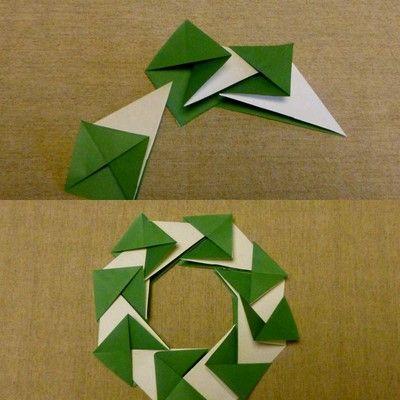折り紙のクリスマス : ものことノート Origami Christmas wreath tutorial