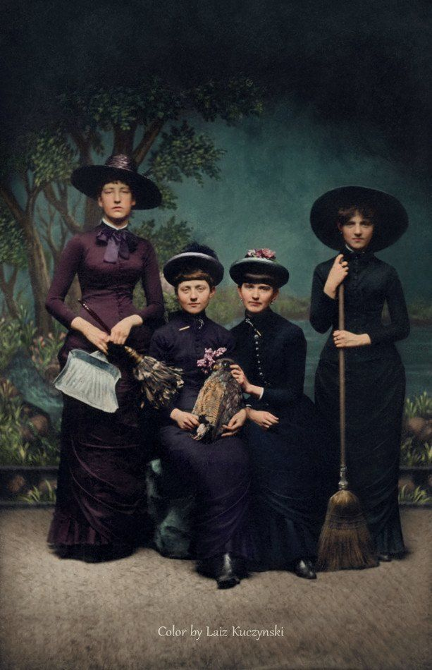 Women In Witch Costumes, 1875  30 Iconic Black & White Old Pictures That Look Amazing In Colour • Page 5 of 6 • BoredBug