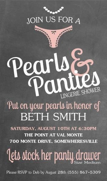 Pearls and Panties Shower Invitation / Invite, invitations, / Party - Panty, bride, Marriage lingerie