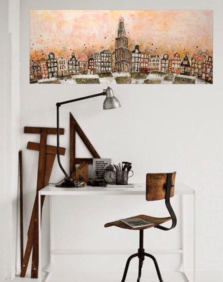 Painting 'Martini centraal' by artnoel.nl info@artnoel.nl Noel Hariri #paintingmixedmedia#giclee#kunst#art#holland#nederland#iloveholland#groningen#love#art#Artnoel#noelhariri#dutch#vtwonen#fun