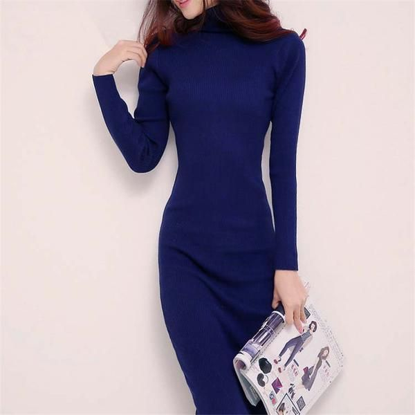 2017 new arrived  Women Winter Sexy bodycon Robe Sweater Dresses Slim Turtleneck Long Knitted Dress