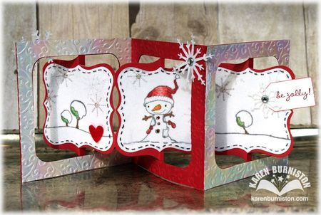 Sizzix Accordion Album plus Frame & Label, Bracket Die, Labels Stitched Framelits, Stacey Yacula stamps and Elizabeth Craft Designs glitter, Shimmer Sheetz and Peel-offs - Be_Jolly_Accordion_Open