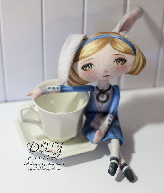 Conejito Alice - Wonderland tela arte impresa patrón de muñeca