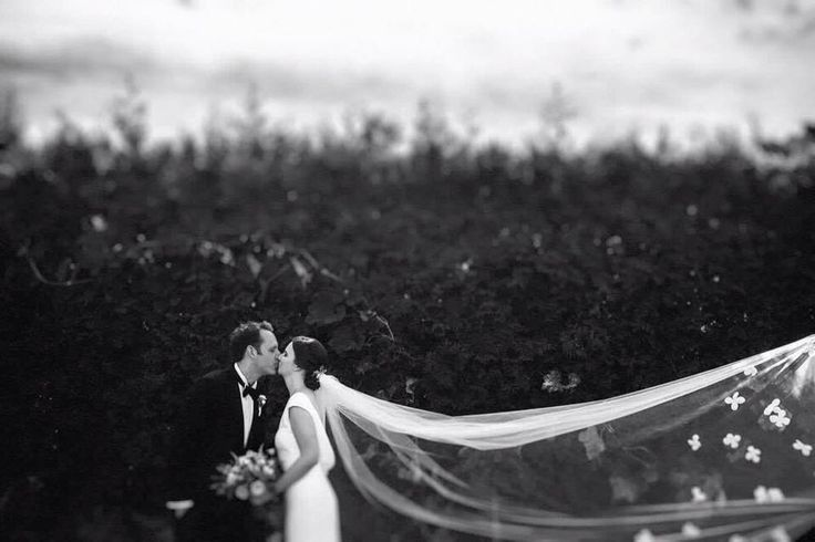 Magical moment and Decolove Bride Olga wearing our Diana's Cathedral Veil with handsewn silk flowers and freshwater pearls