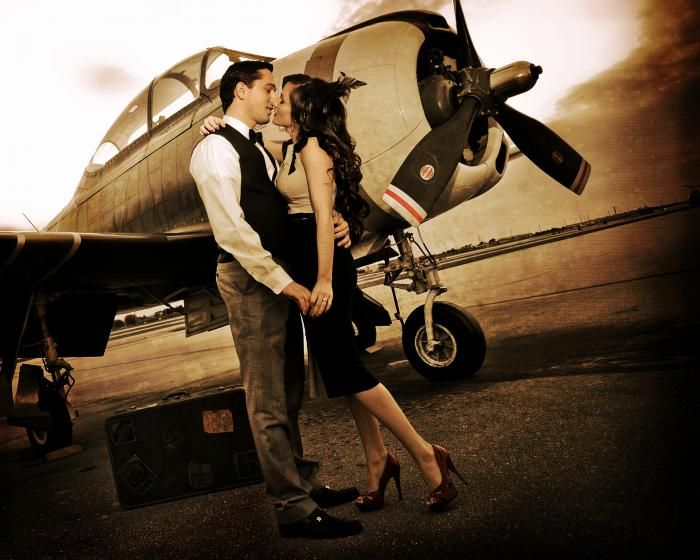 vintage aviation wedding theme | Love this vintage aviation themed engagement picture! ** Exit picture heading to honeymoon?