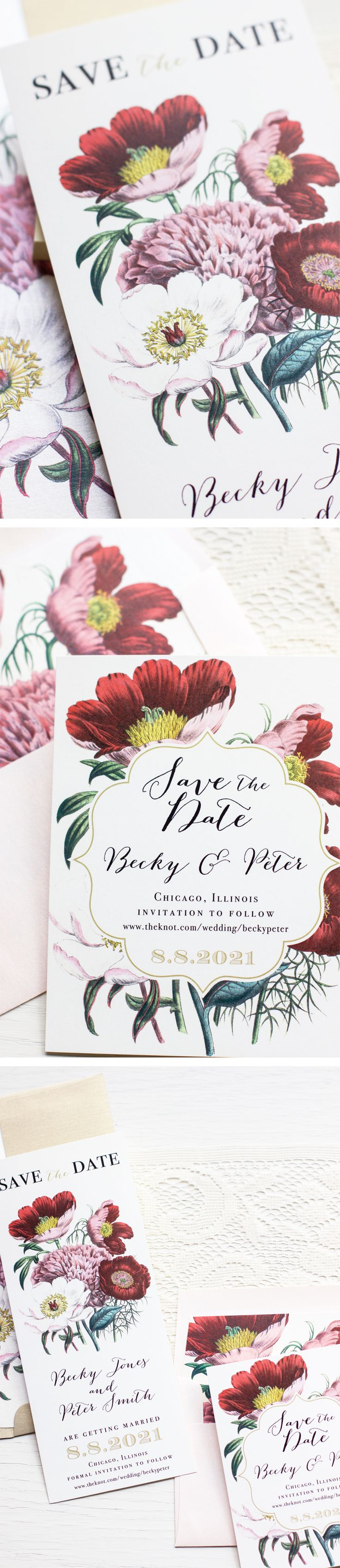 It's a garden party! Floral Boho save the dates, inspired by heirloom garden blooms and boho brides.