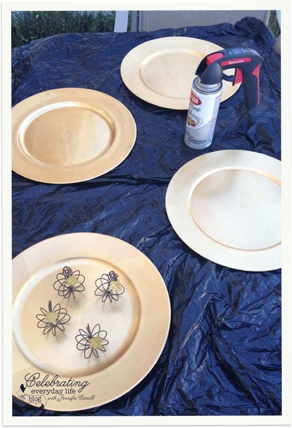 Gold Chargers before - How to customize plate chargers with spray paint ~ might try a pattern