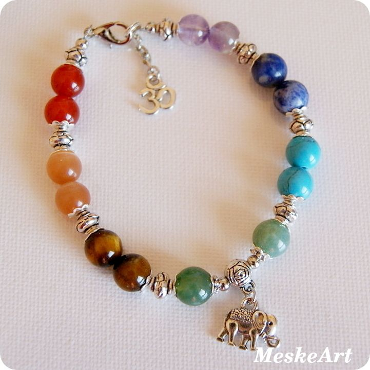 Csakra karkötő elefánt medálkával / Chakra bracelet with elefant / Chakra náramok