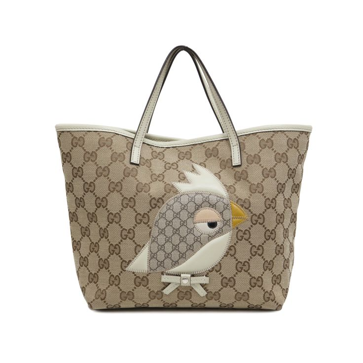 Gucci Monogram Canvas Bird Zoo Tote - modaselle