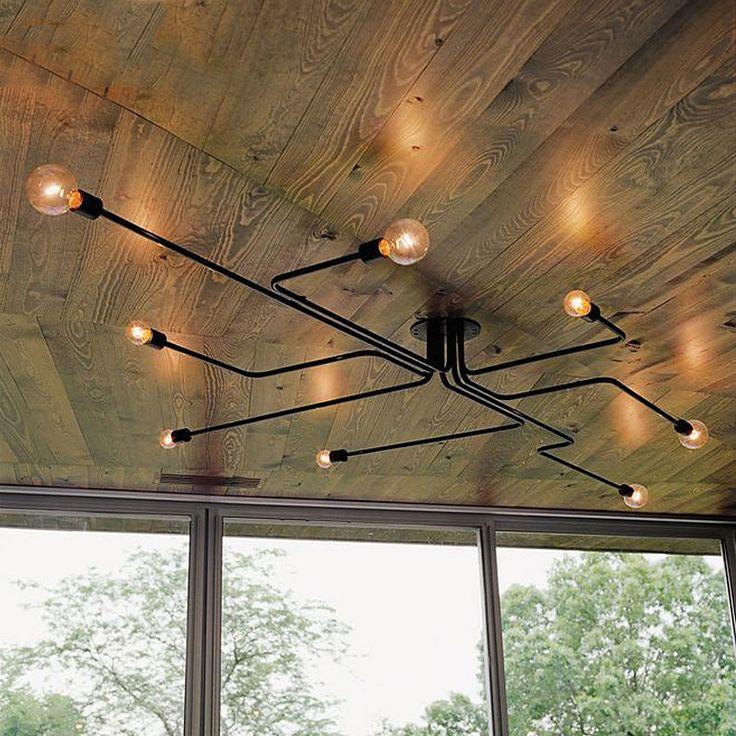 Industrial Creative Metal Semi Flush Mount Exposed Globe Bulb Lighting 8 Heads #Baycheer