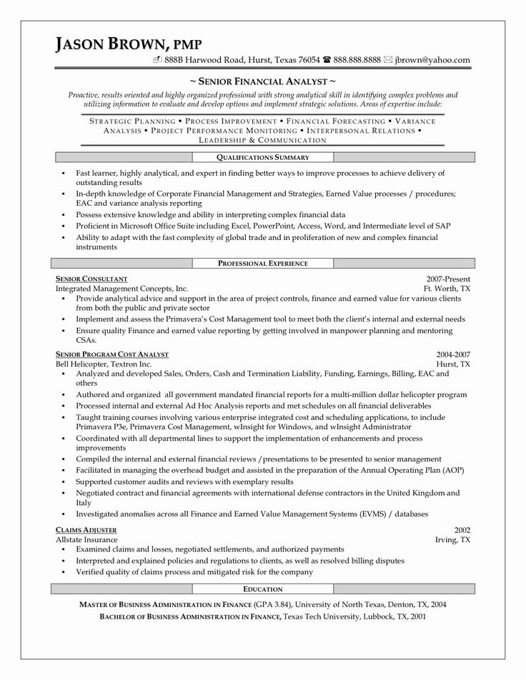Financial Analyst Resume Example New Senior Financial