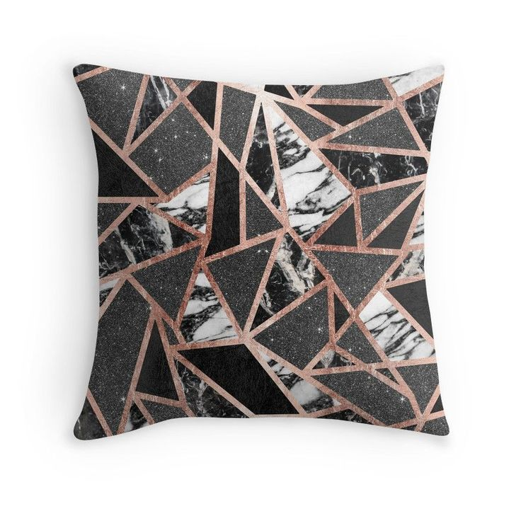 Modern Rose Gold Glitter Marble Geometric Triangle | Throw Pillow