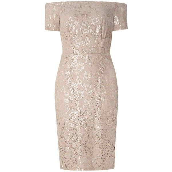 Dorothy Perkins Sequin lace pencil dress (100 CAD) ❤ liked on Polyvore featuring dresses, gold, night out dresses, holiday party dresses, pink pencil dress, pink lace cocktail dress and pink cocktail dress
