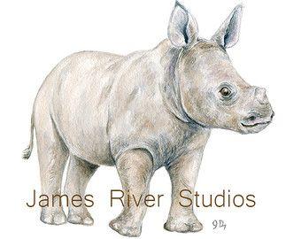 Imprimir acuarela Rhino rinoceronte arte arte de por SlaviART