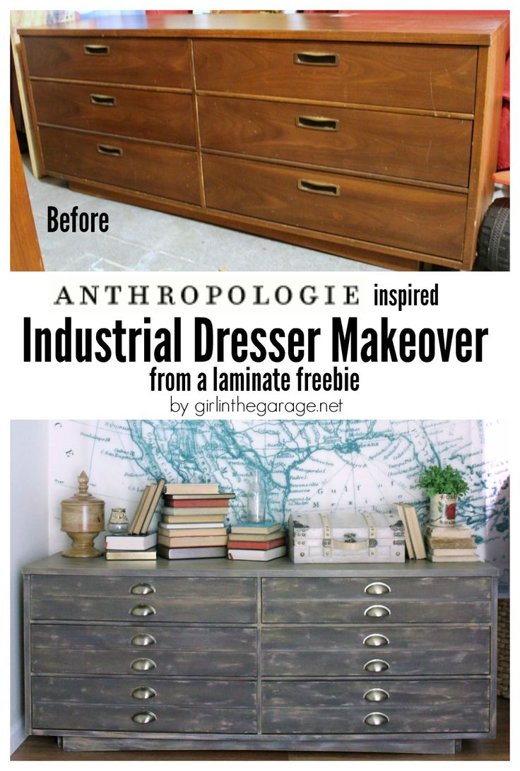 How a free dresser was transformed into an Anthropologie cabinet knockoff that retails for over $1600.  girlinthegarage.net