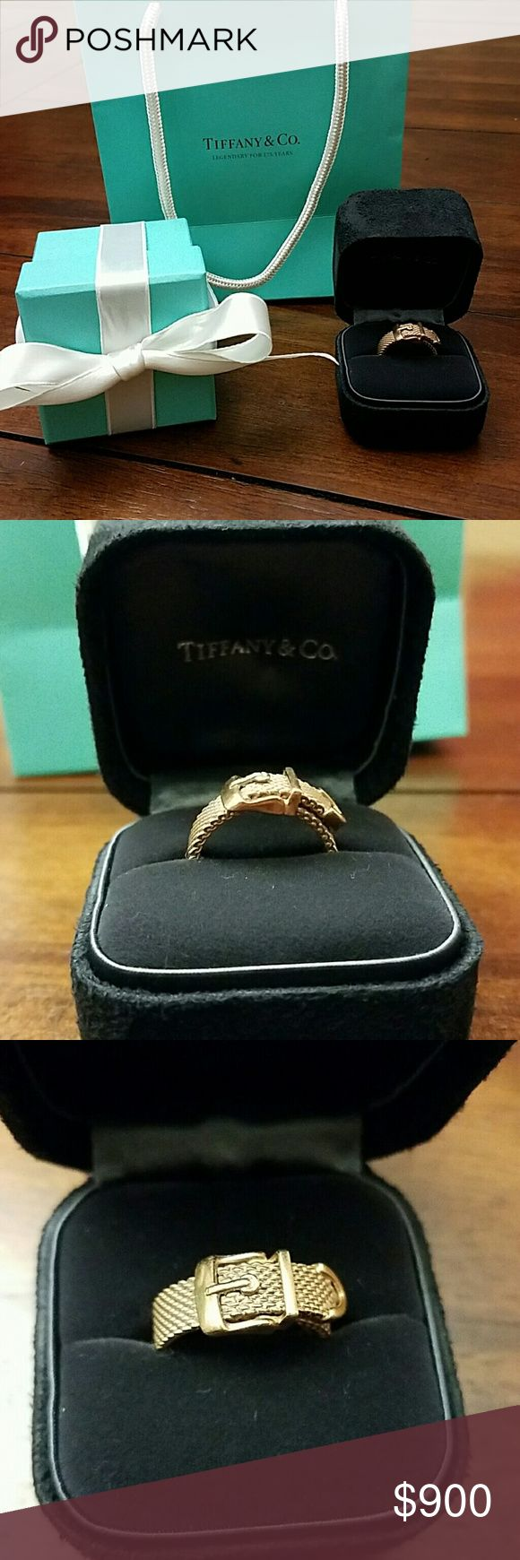 After XMAS SALE! RARE! Tiffany RUBEDO ring On sale until 1/1/2017! Price will rebound after!  Your chance to own a very UNIQUE and limited ring!  Tiffany & Co. Rubedo somerset mesh buckle ring. Size 7. EUC!  This item has been retired and is no longer available! You cannot find this ring anywhere else on the Internet!   Comes with Tiffany presentation box, gift box, bag, and ribbon. Tiffany & Co. Jewelry Rings