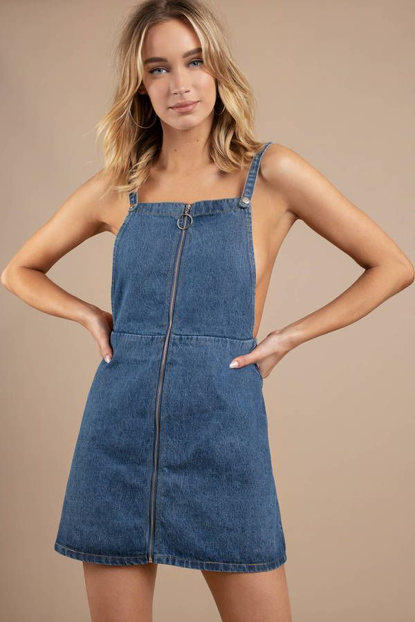a1f62206cd Looking for the Happy Tonight Medium Wash Zip Up Denim Shift Dress