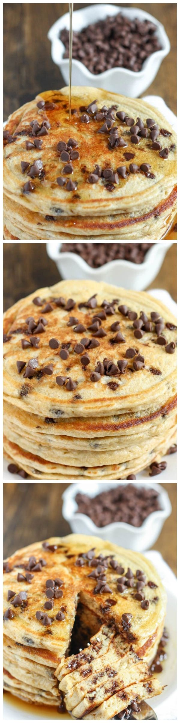 These chocolate chip pancakes make a perfect light and healthy breakfast and are packed with extra protein from the greek yogurt! Full recipe