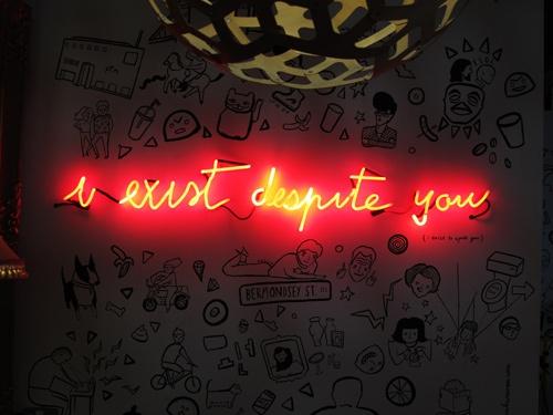 'I Exist Despite You' neon, 2008 by artist Franko B