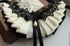 Колье-воротничок из репсовых лент №3 - чёрный,бежевый,репсовая лента,репсовые…