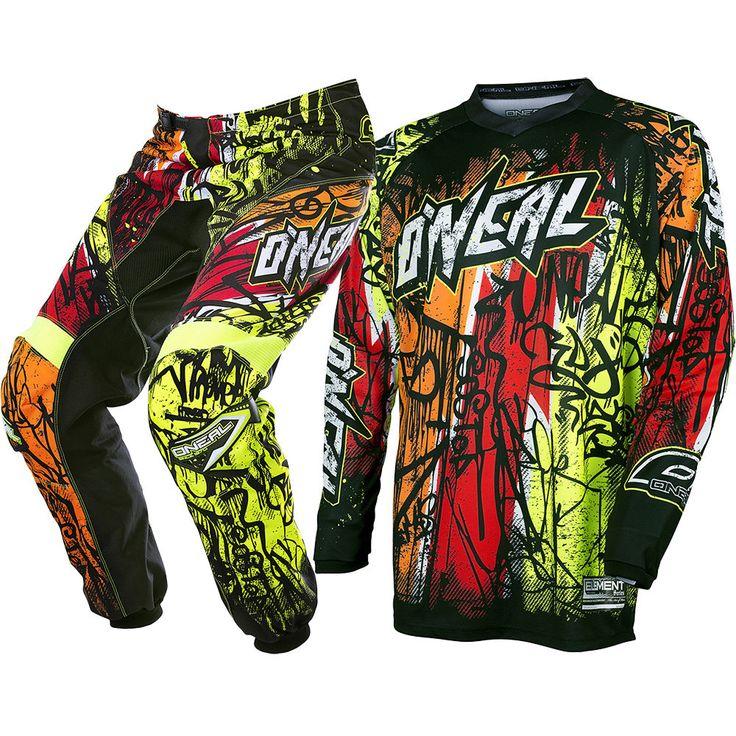NEW Oneal 2018 Mx Youth Element Vandal Black Neon Fluro Kids Motocross Gear Set | eBay